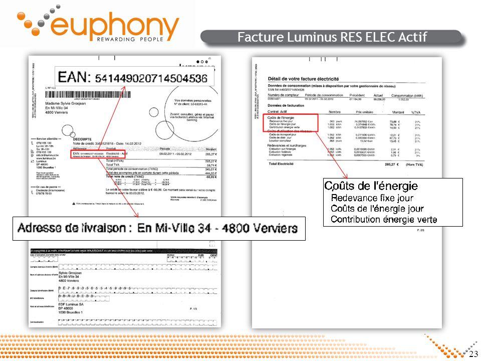 Facture Luminus RES ELEC Actif
