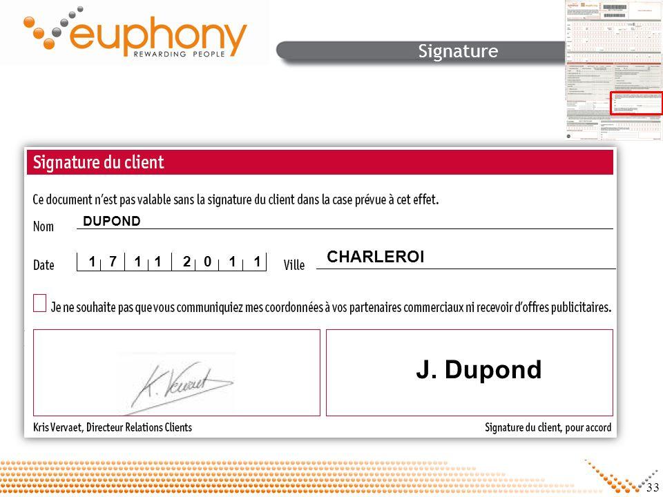 Signature DUPOND CHARLEROI 1 7 1 1 2 0 1 1 J. Dupond