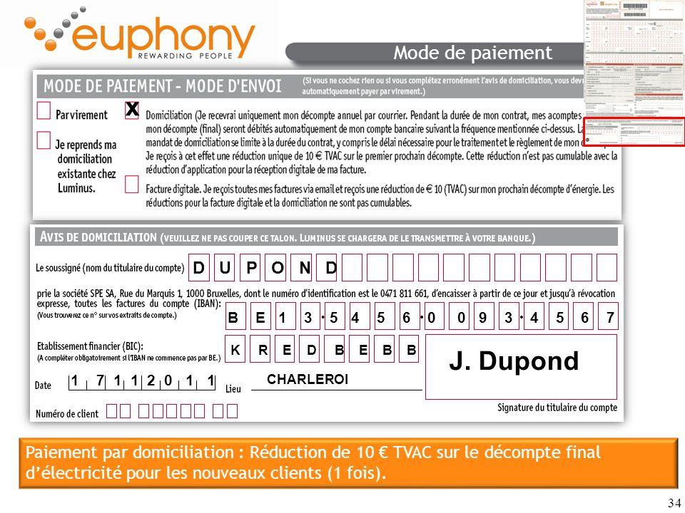 J. Dupond Mode de paiement x D U P O N D