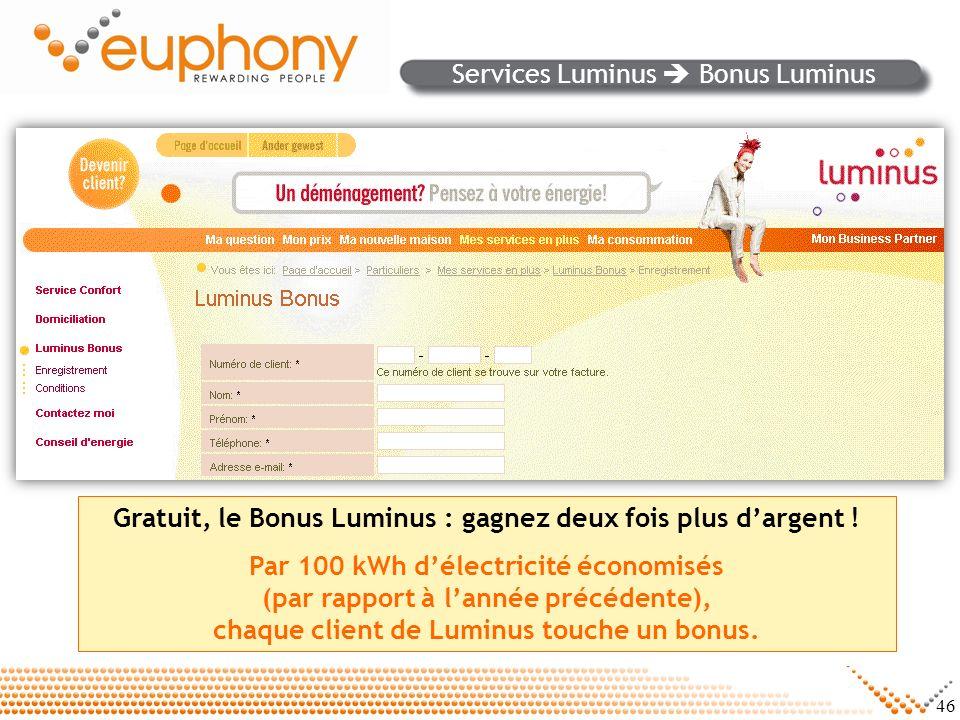 Services Luminus  Bonus Luminus