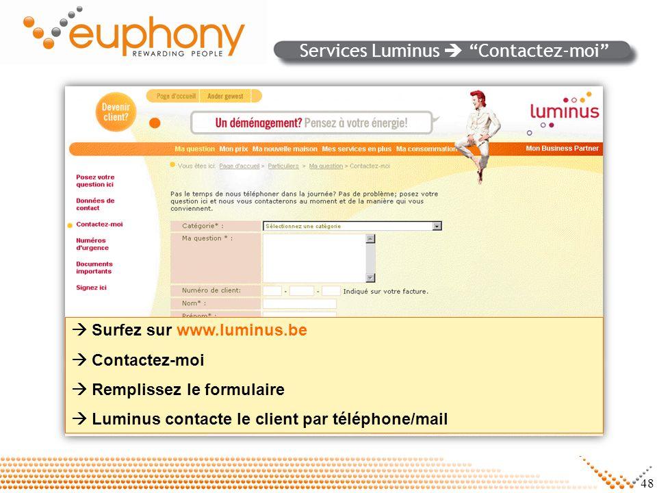 Services Luminus  Contactez-moi