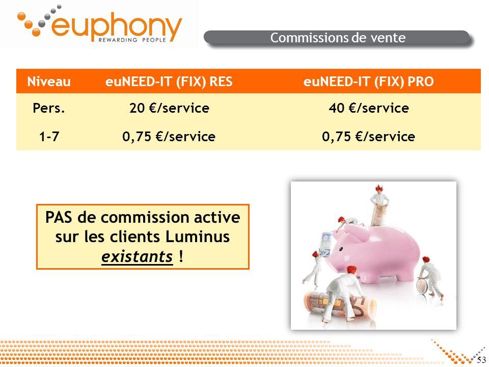 PAS de commission active sur les clients Luminus existants !