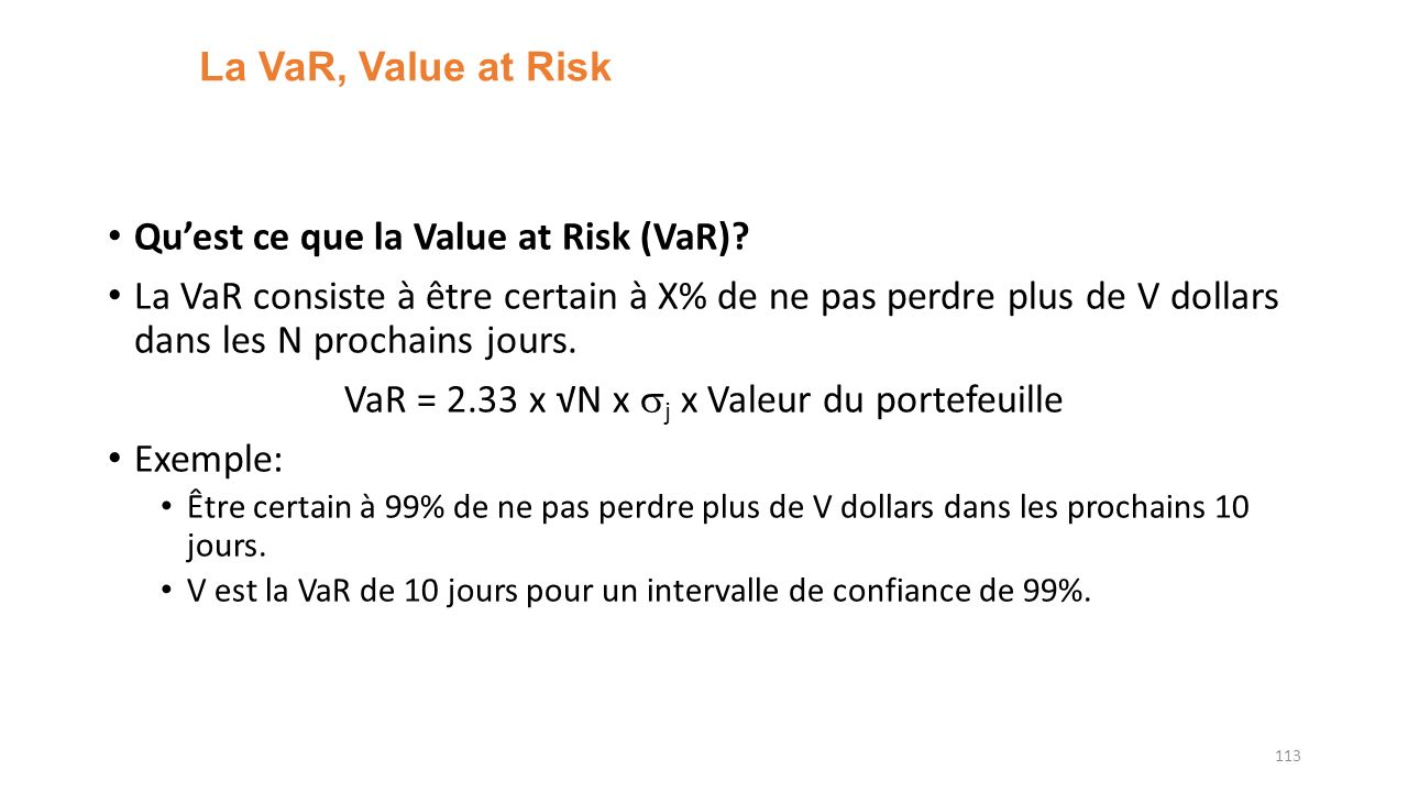 VaR = 2.33 x √N x sj x Valeur du portefeuille