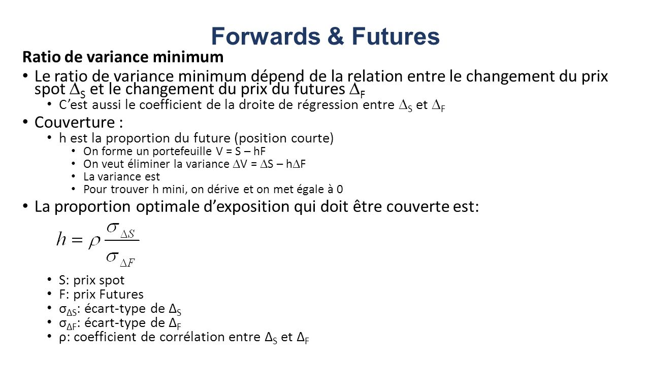 Forwards & Futures Ratio de variance minimum