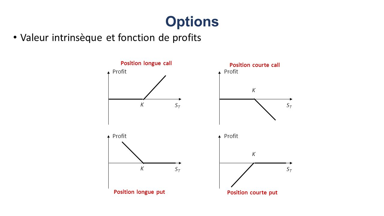 Options Valeur intrinsèque et fonction de profits Position longue call