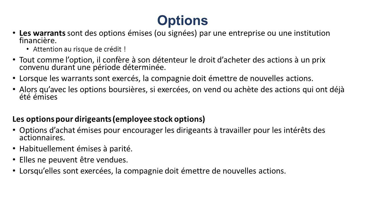 Options Les warrants sont des options émises (ou signées) par une entreprise ou une institution financière.