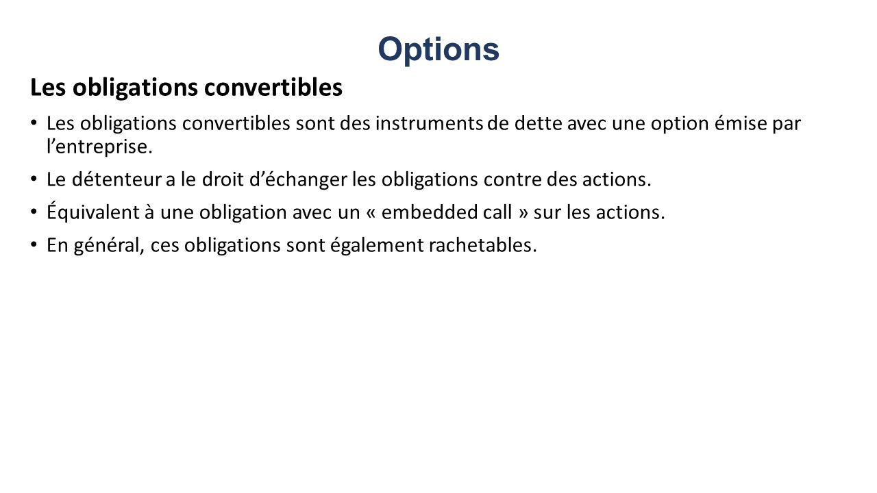 Options Les obligations convertibles