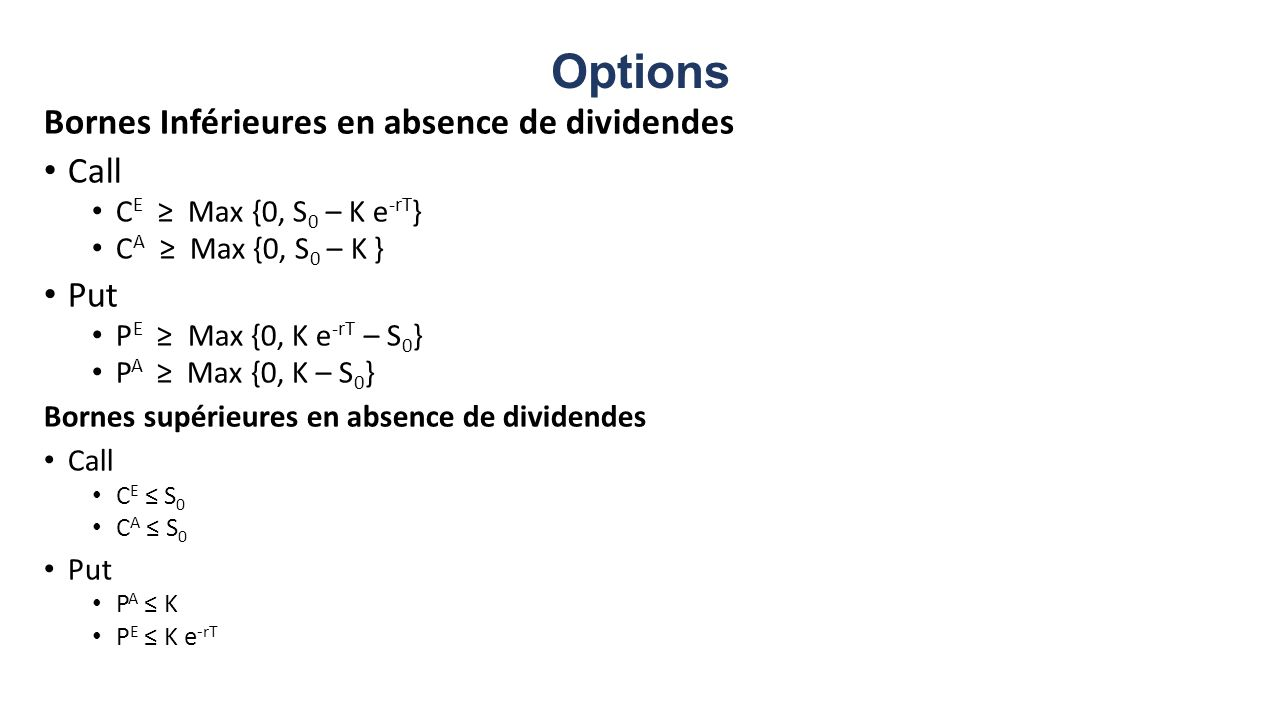 Options Bornes Inférieures en absence de dividendes Call Put