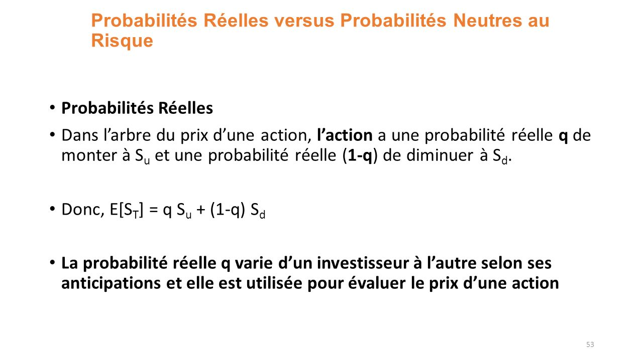 Probabilités Réelles versus Probabilités Neutres au Risque