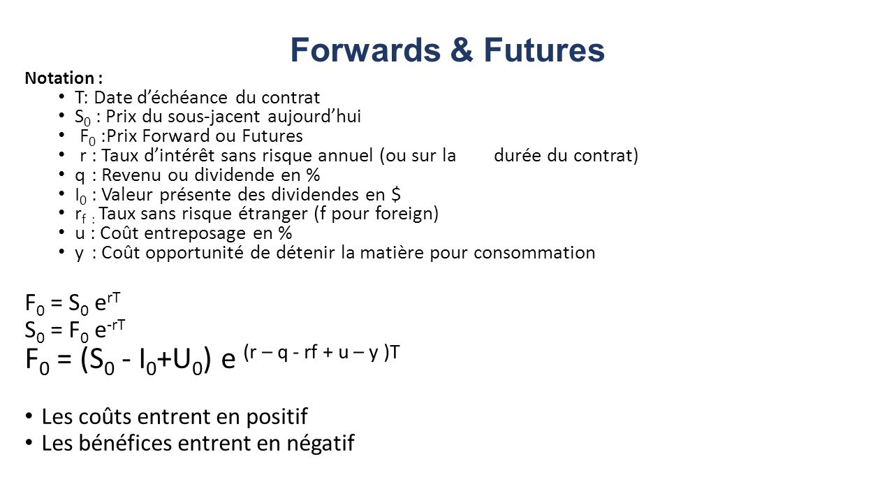 Forwards & Futures F0 = (S0 - I0+U0) e (r – q - rf + u – y )T