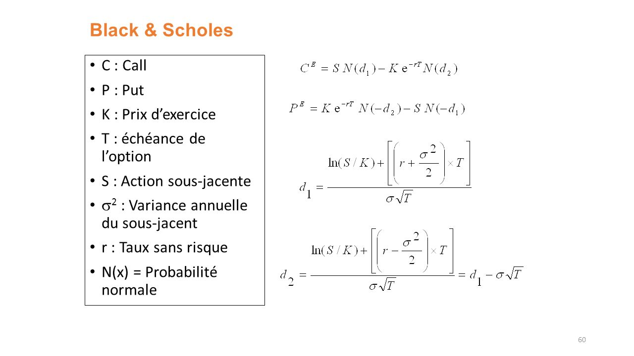 Black & Scholes C : Call P : Put K : Prix d'exercice