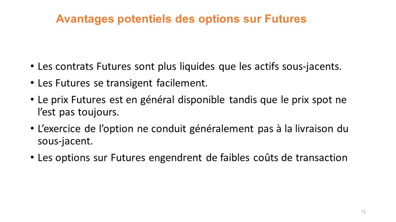 Avantages potentiels des options sur Futures