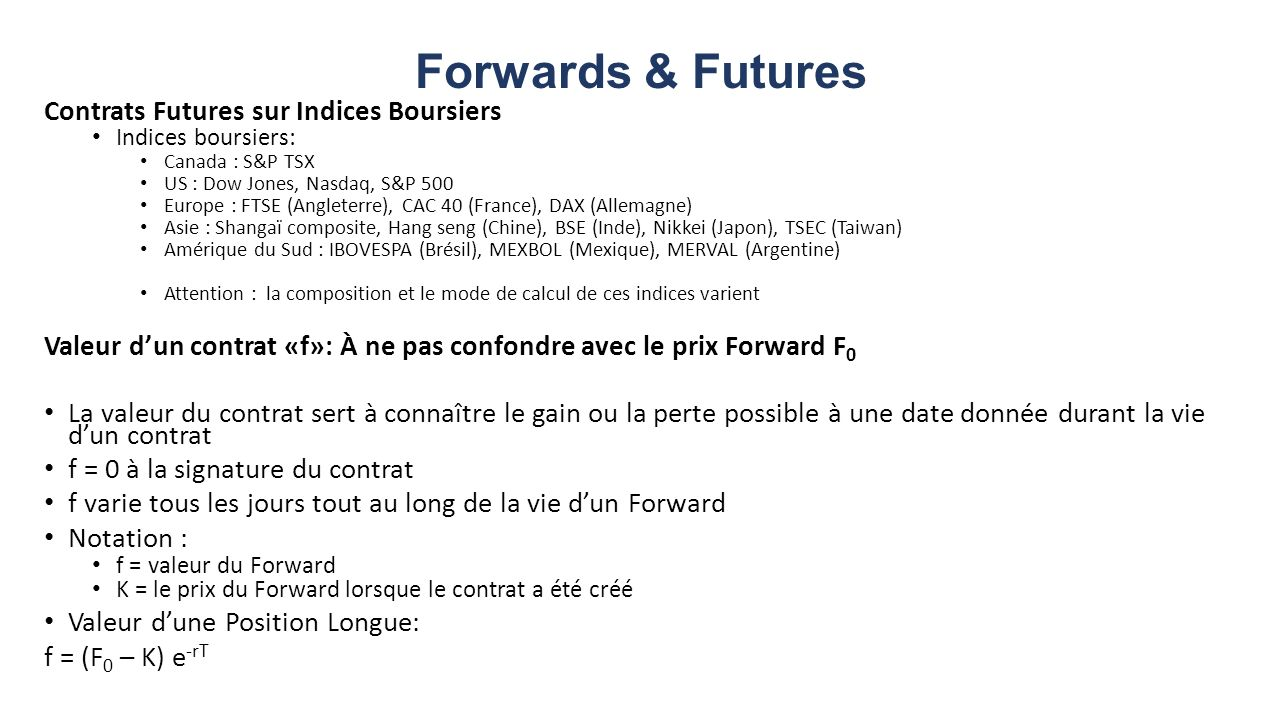 Forwards & Futures Contrats Futures sur Indices Boursiers