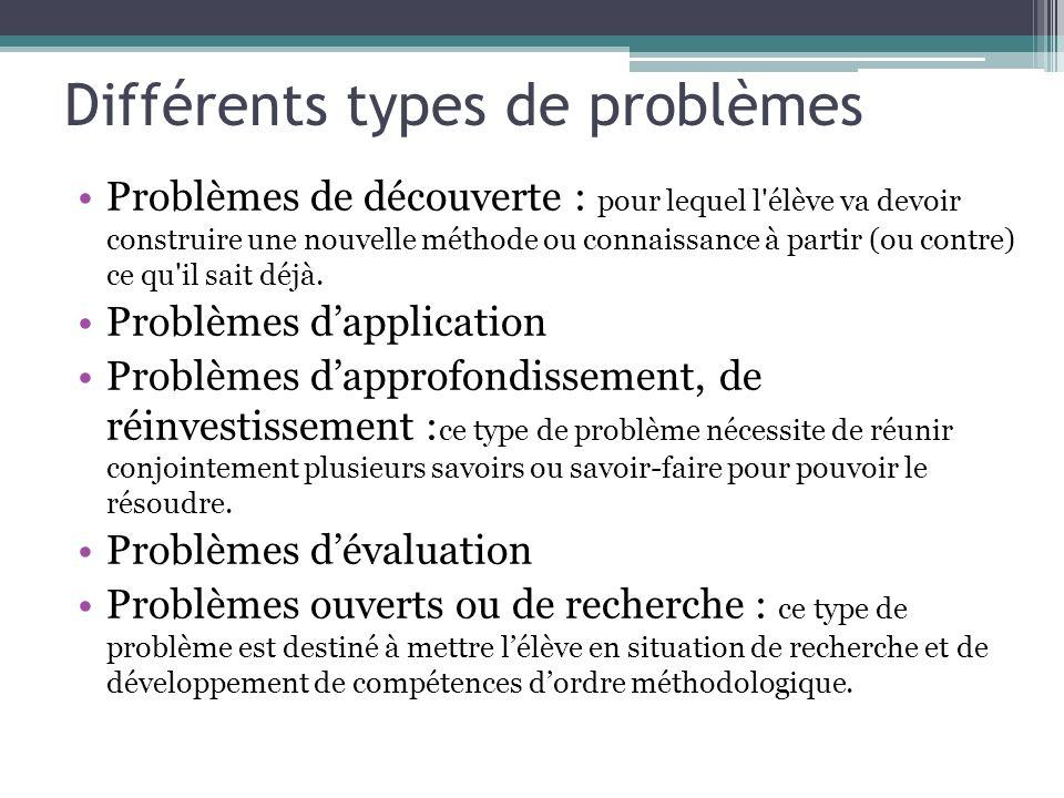 Différents types de problèmes