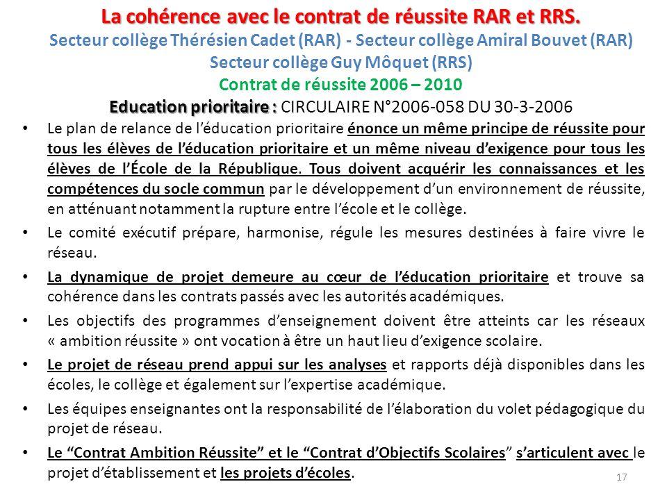 La cohérence avec le contrat de réussite RAR et RRS