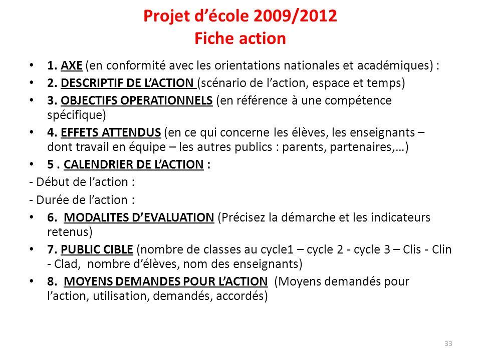 Projet d'école 2009/2012 Fiche action