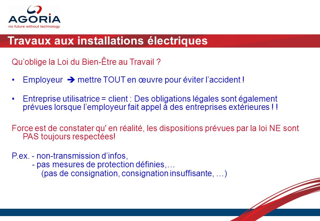 Travaux aux installations électriques