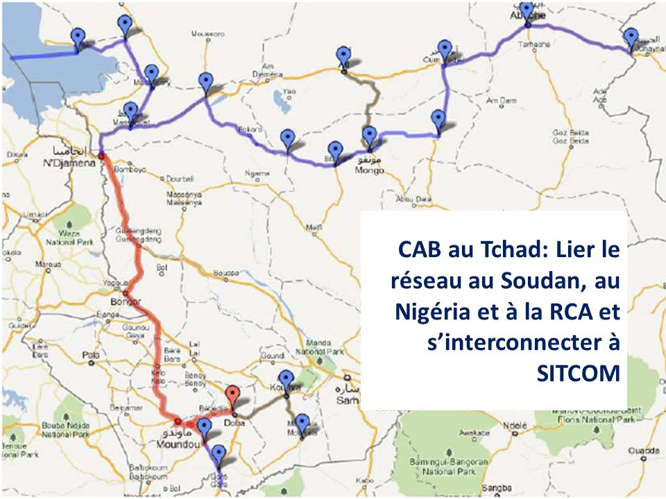 CAB au Tchad: Lier le réseau au Soudan, au Nigéria et à la RCA et s'interconnecter à SITCOM