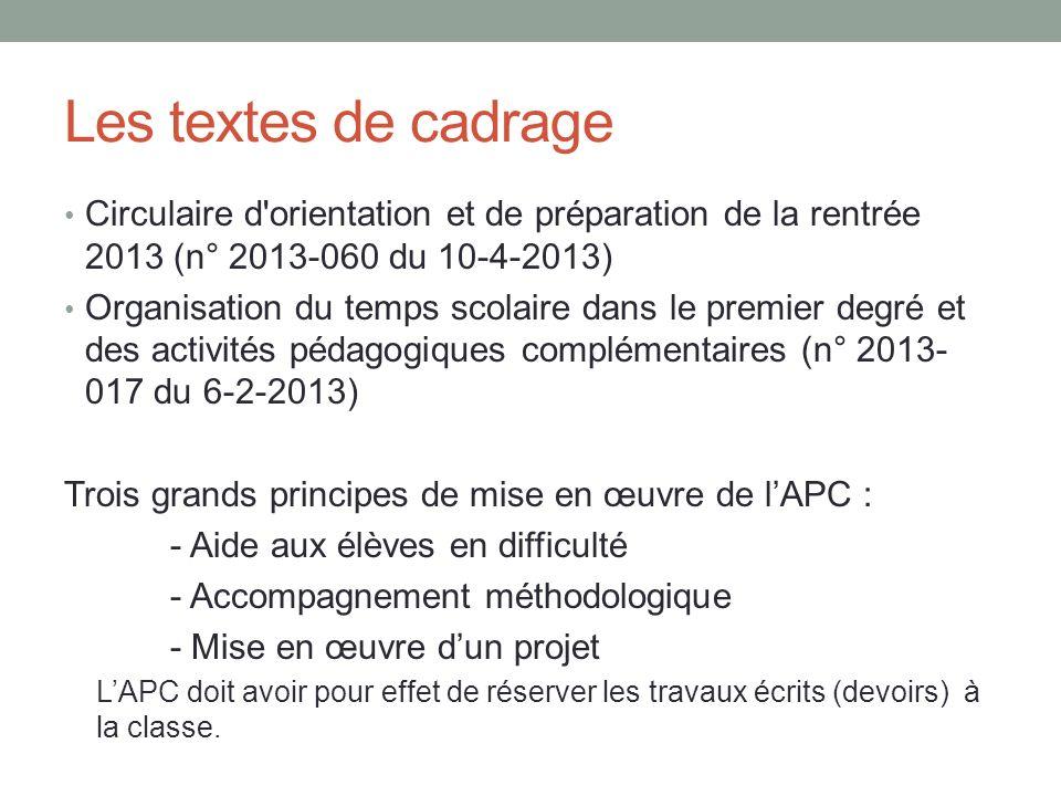 Les textes de cadrage Circulaire d orientation et de préparation de la rentrée 2013 (n° 2013-060 du 10-4-2013)
