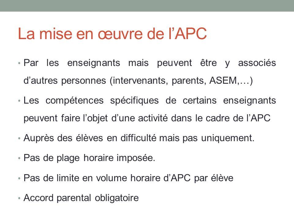 La mise en œuvre de l'APC
