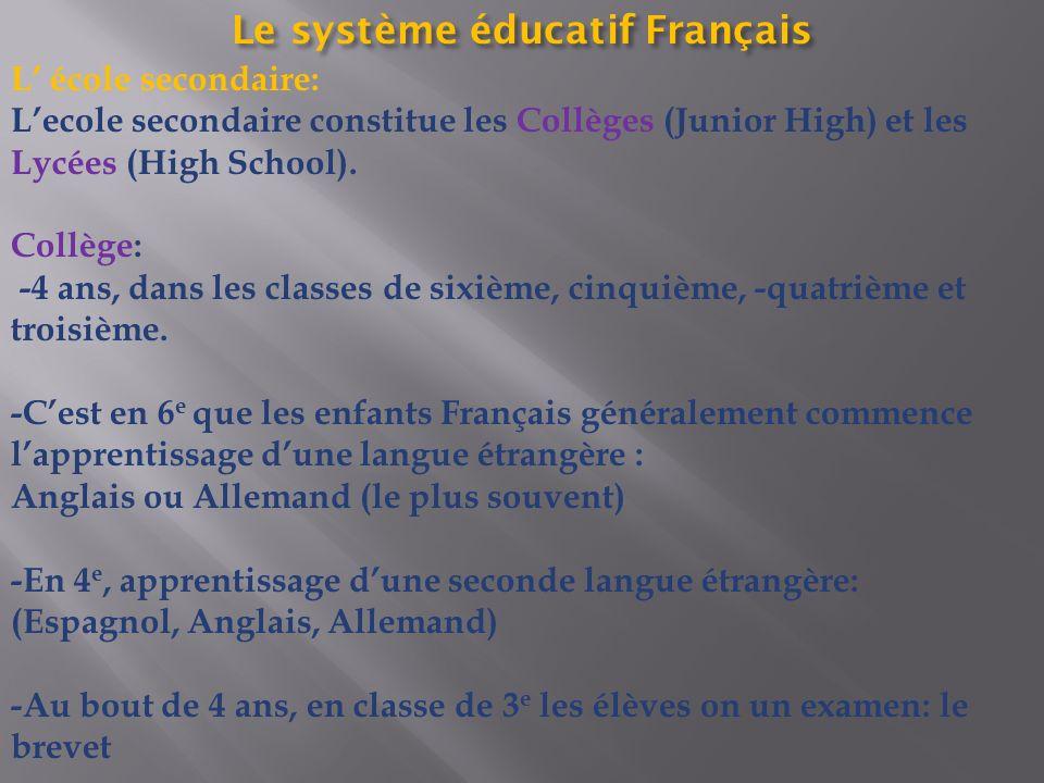 Le système éducatif Français