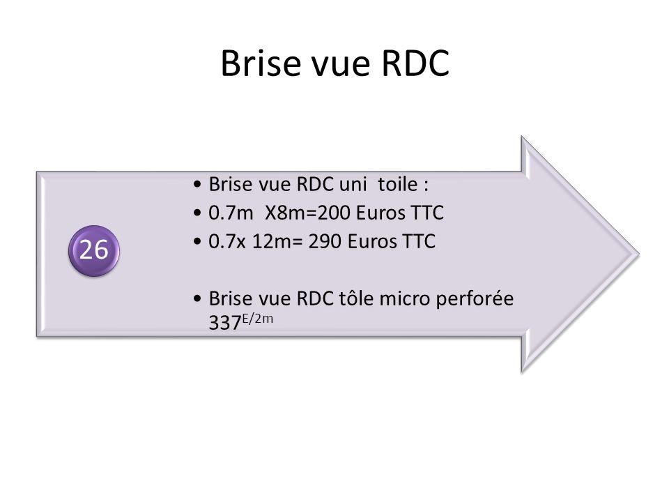 Brise vue RDC Brise vue RDC uni toile : 0.7m X8m=200 Euros TTC