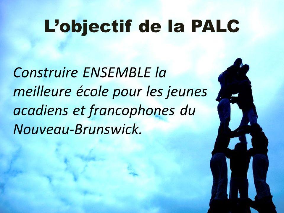 L'objectif de la PALC Construire ENSEMBLE la meilleure école pour les jeunes acadiens et francophones du Nouveau-Brunswick.