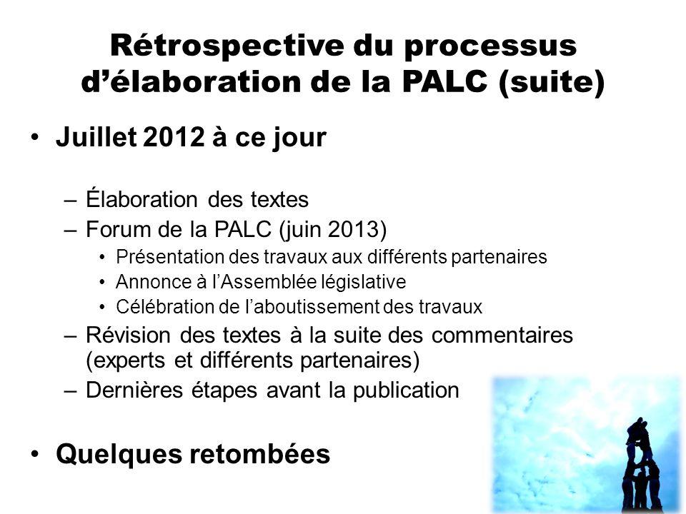 Rétrospective du processus d'élaboration de la PALC (suite)