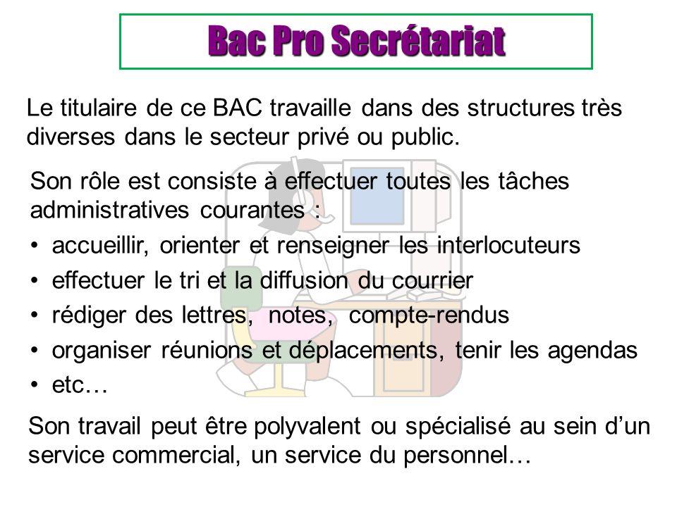 Bac Pro Secrétariat Le titulaire de ce BAC travaille dans des structures très diverses dans le secteur privé ou public.