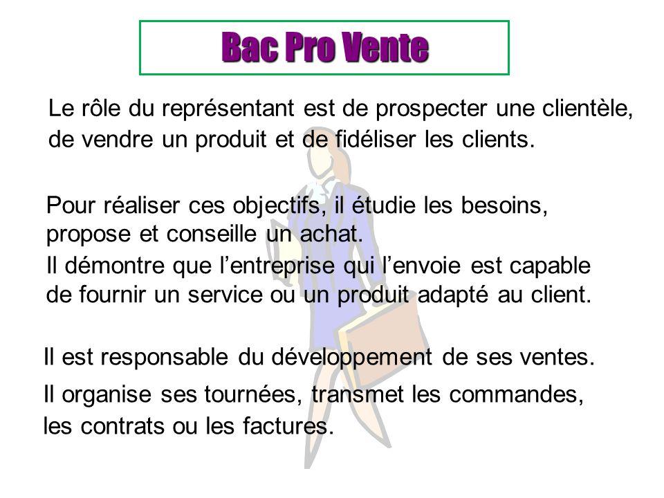 Bac Pro Vente Le rôle du représentant est de prospecter une clientèle,