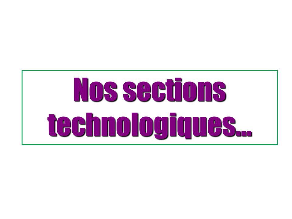 Nos sections technologiques…