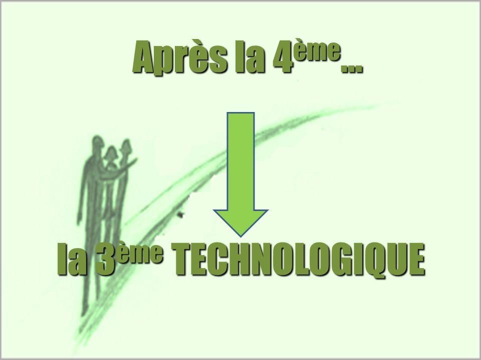 Après la 4ème… la 3ème TECHNOLOGIQUE