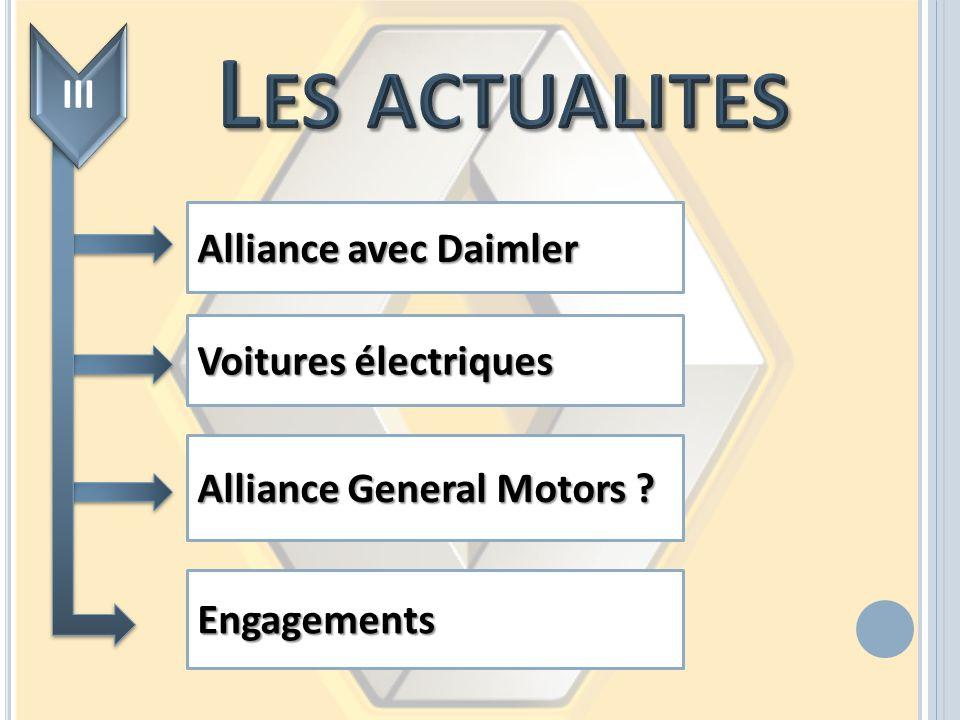 Les actualites III Alliance avec Daimler Voitures électriques