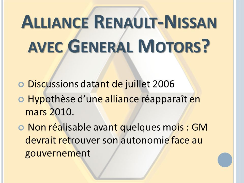 Alliance Renault-Nissan avec General Motors