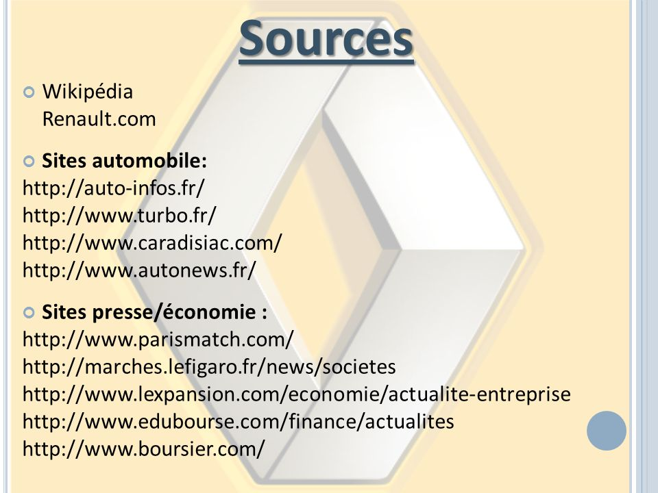 Sources Wikipédia Renault.com Sites automobile: http://auto-infos.fr/