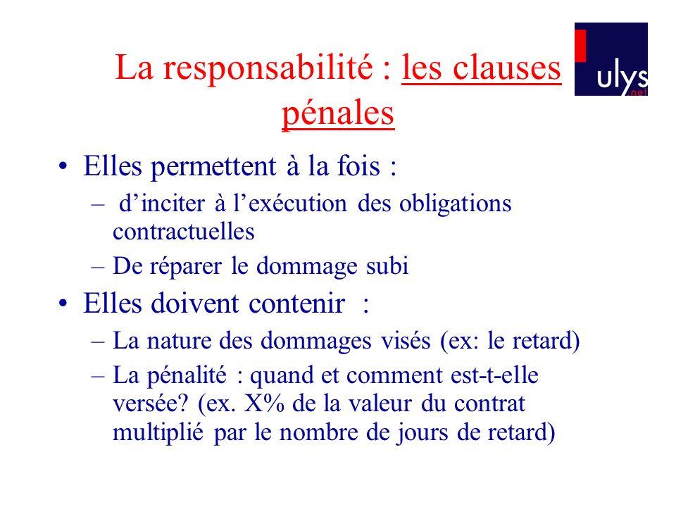 La responsabilité : les clauses pénales