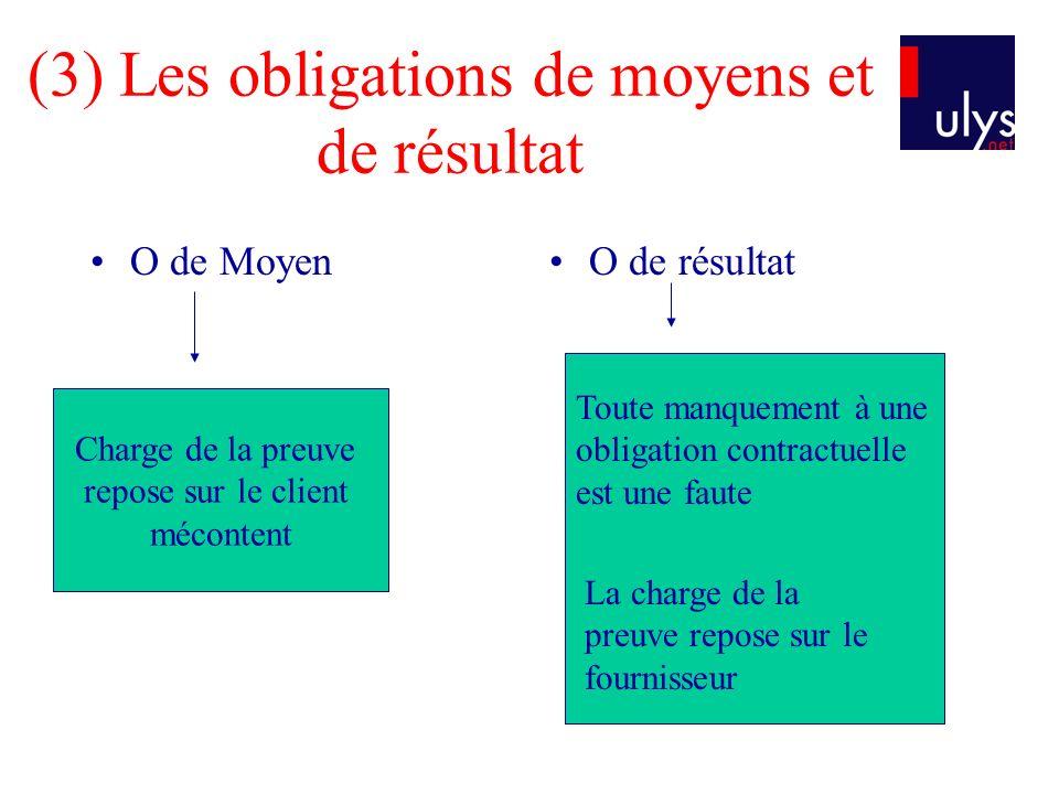 (3) Les obligations de moyens et de résultat