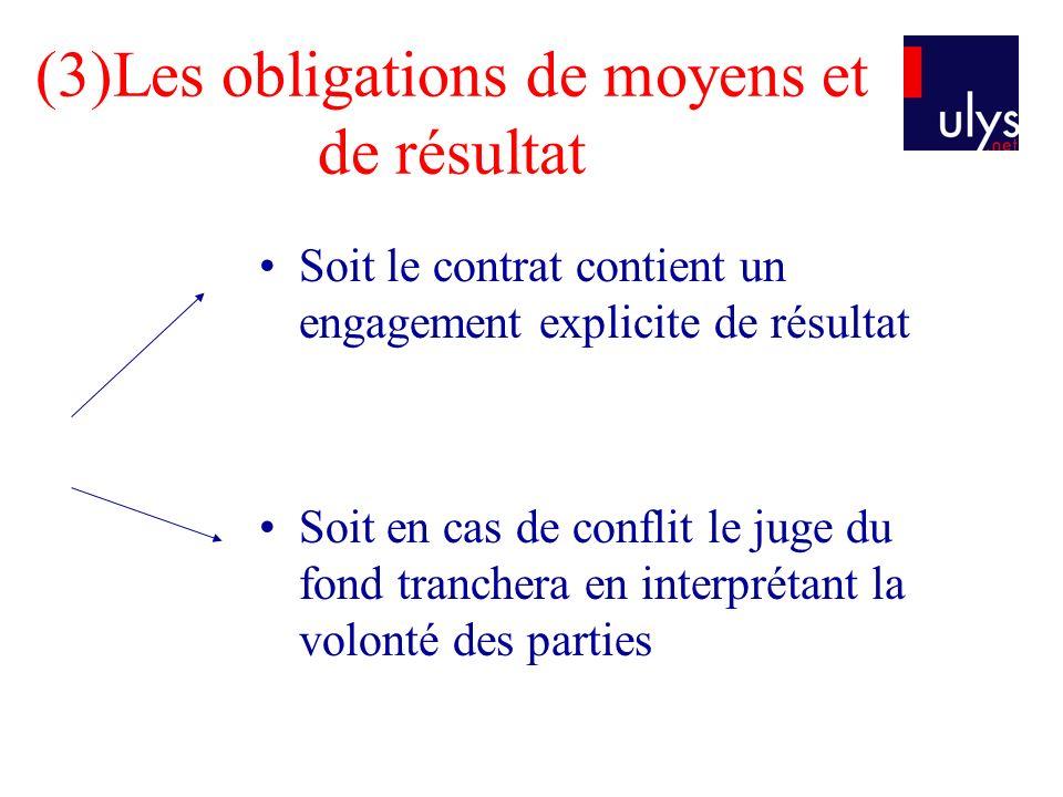 (3)Les obligations de moyens et de résultat