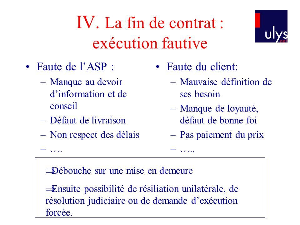 IV. La fin de contrat : exécution fautive