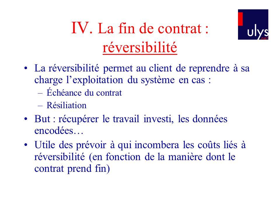 IV. La fin de contrat : réversibilité