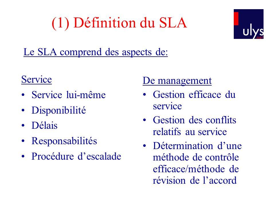 (1) Définition du SLA Le SLA comprend des aspects de: Service