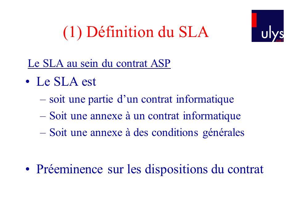 (1) Définition du SLA Le SLA est
