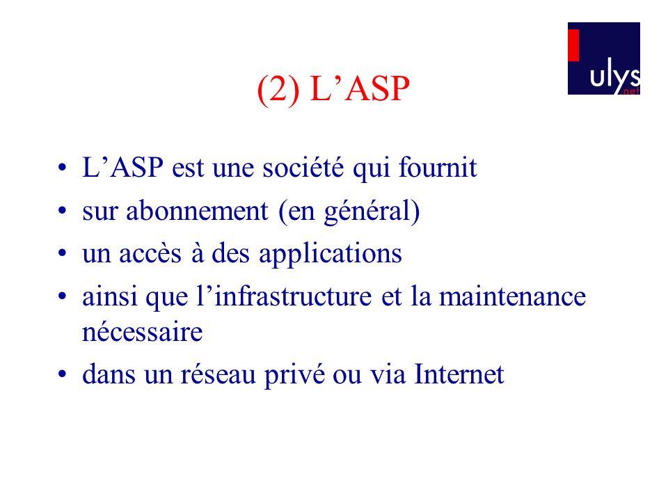 (2) L'ASP L'ASP est une société qui fournit