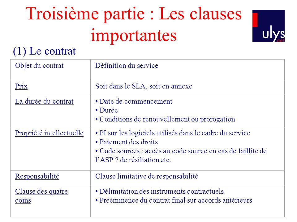Troisième partie : Les clauses importantes