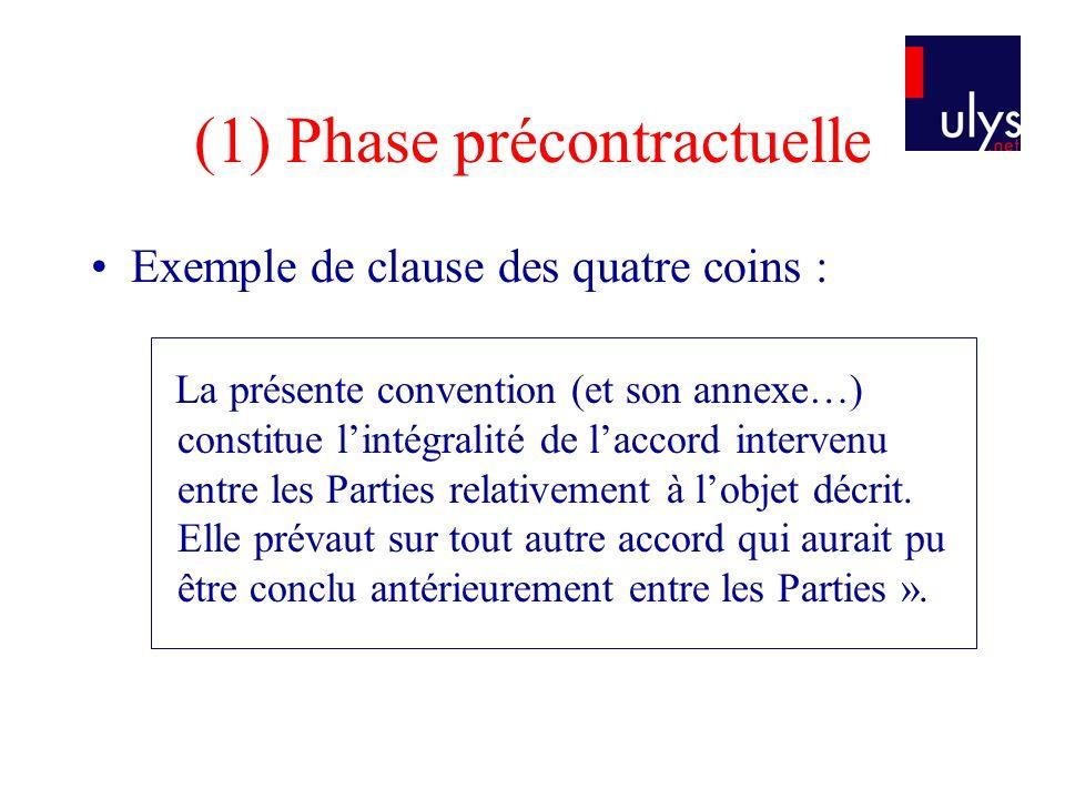 (1) Phase précontractuelle