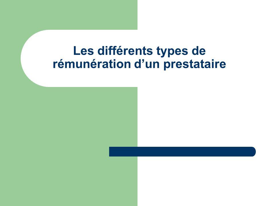 Les différents types de rémunération d'un prestataire