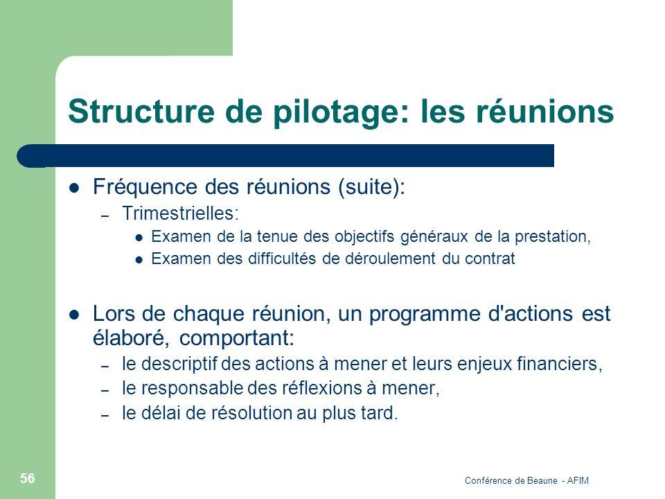 Structure de pilotage: les réunions