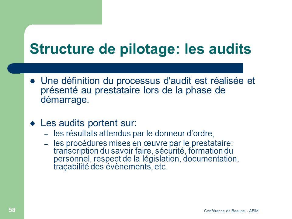 Structure de pilotage: les audits