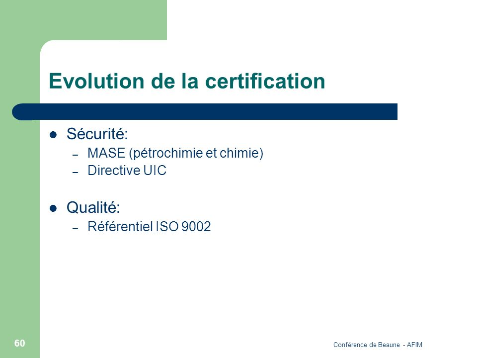 Evolution de la certification
