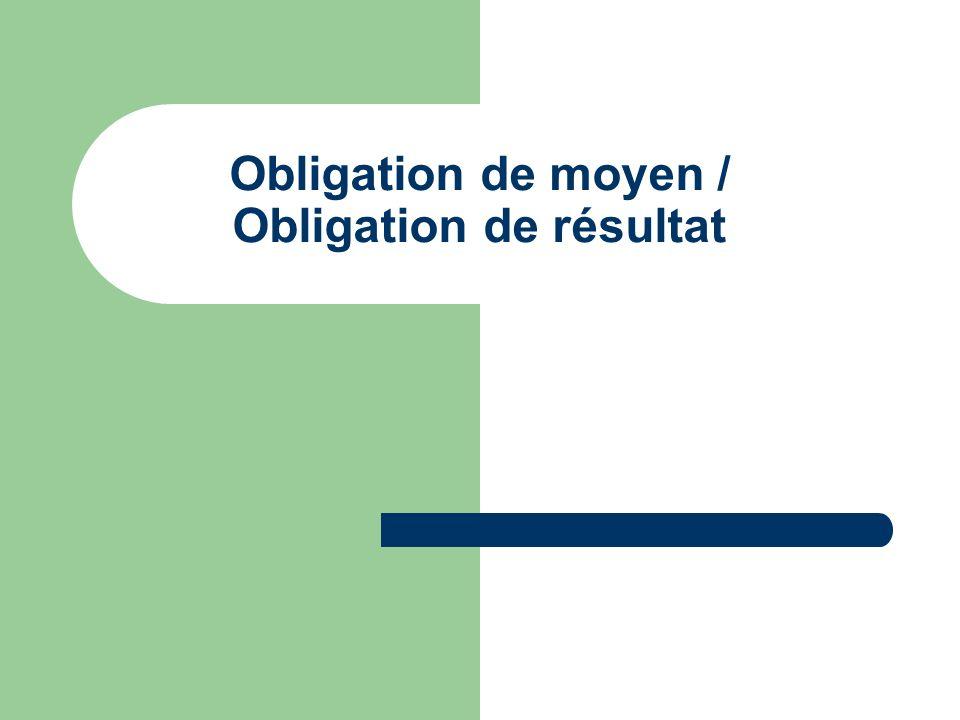 Obligation de moyen / Obligation de résultat